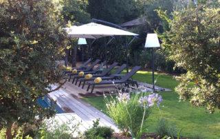 Deckchairs around the pool